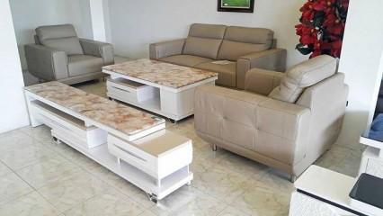 sofa cao cấp màu kem nhẹ nhàng